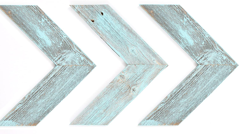 BarnwoodUSA Reclaimed Wood Chevron Arrow, Rustic Wall Mount Decor, Robins Egg Blue Decorations