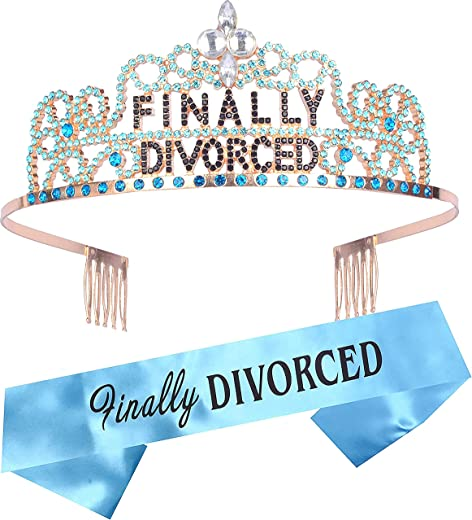 Divorce Party Decorations for Women, Finally Divorced Tiara and Sash, Happy Divorce Party Supplies, Just Divorced Sash and Tiara Divorced Crown for Divorced Supplies a nd Decorations,Divorced Sash