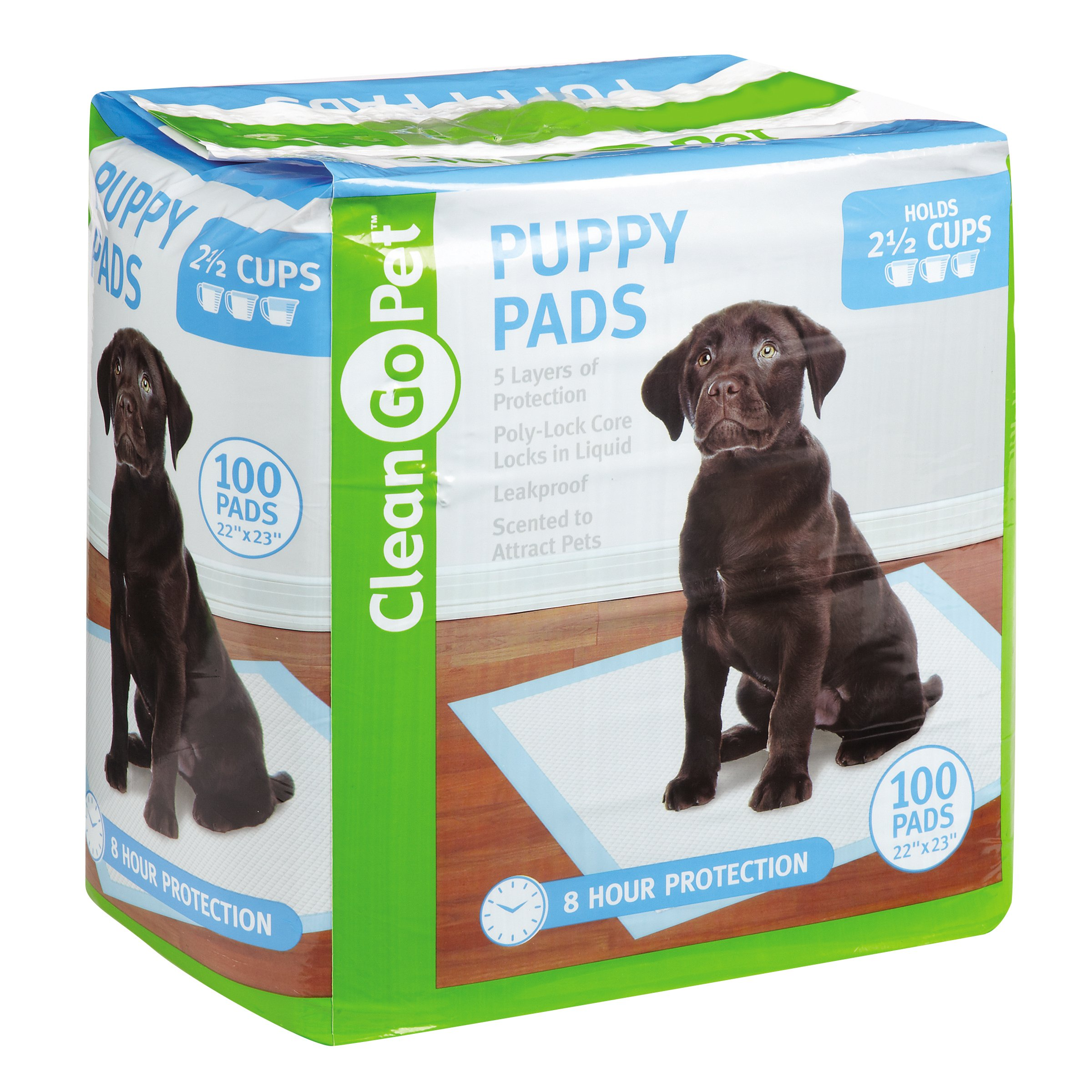 Clean Go Pet Puppy Pads, 100-Pack - Leakproof, Five-Layers, Eight-Hour Protection, Scented to Attract Puppies
