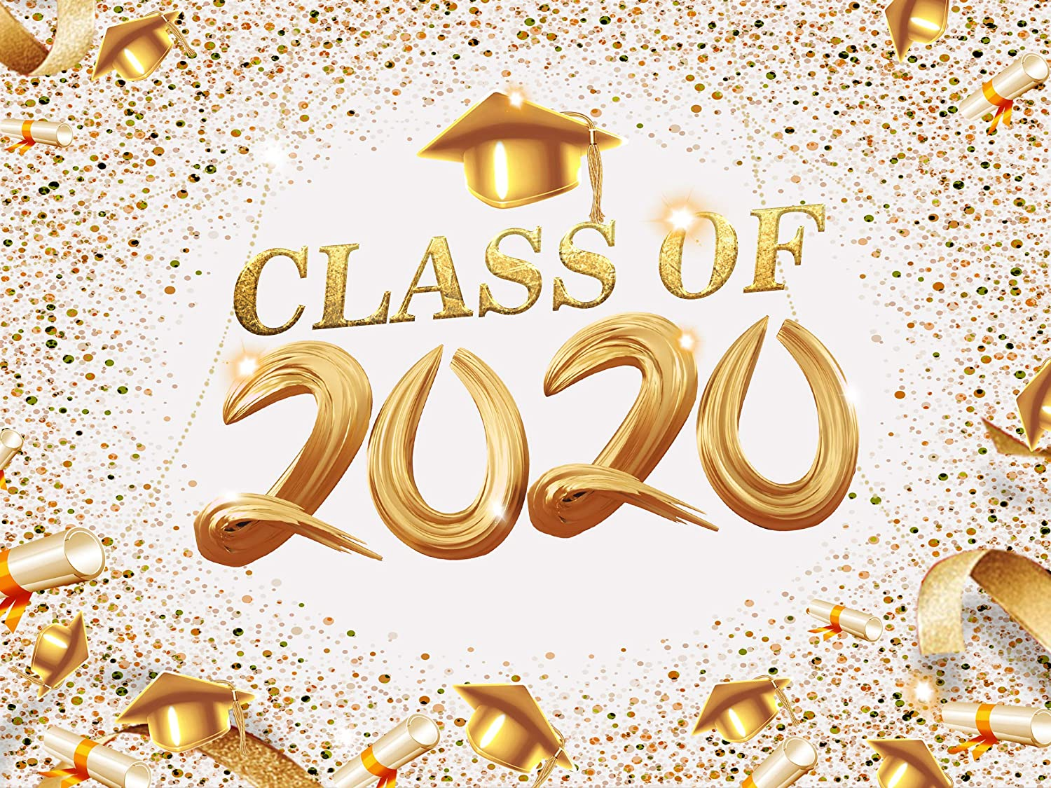 Glitter Gold and White 2020 Graduation Backdrop for Photography Class of 2020 Congrats Grad Party Favor Decorations Photo Booth Props
