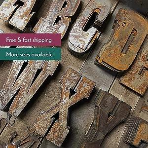 6 Inch Farmhouse Letters in Rusty Metal