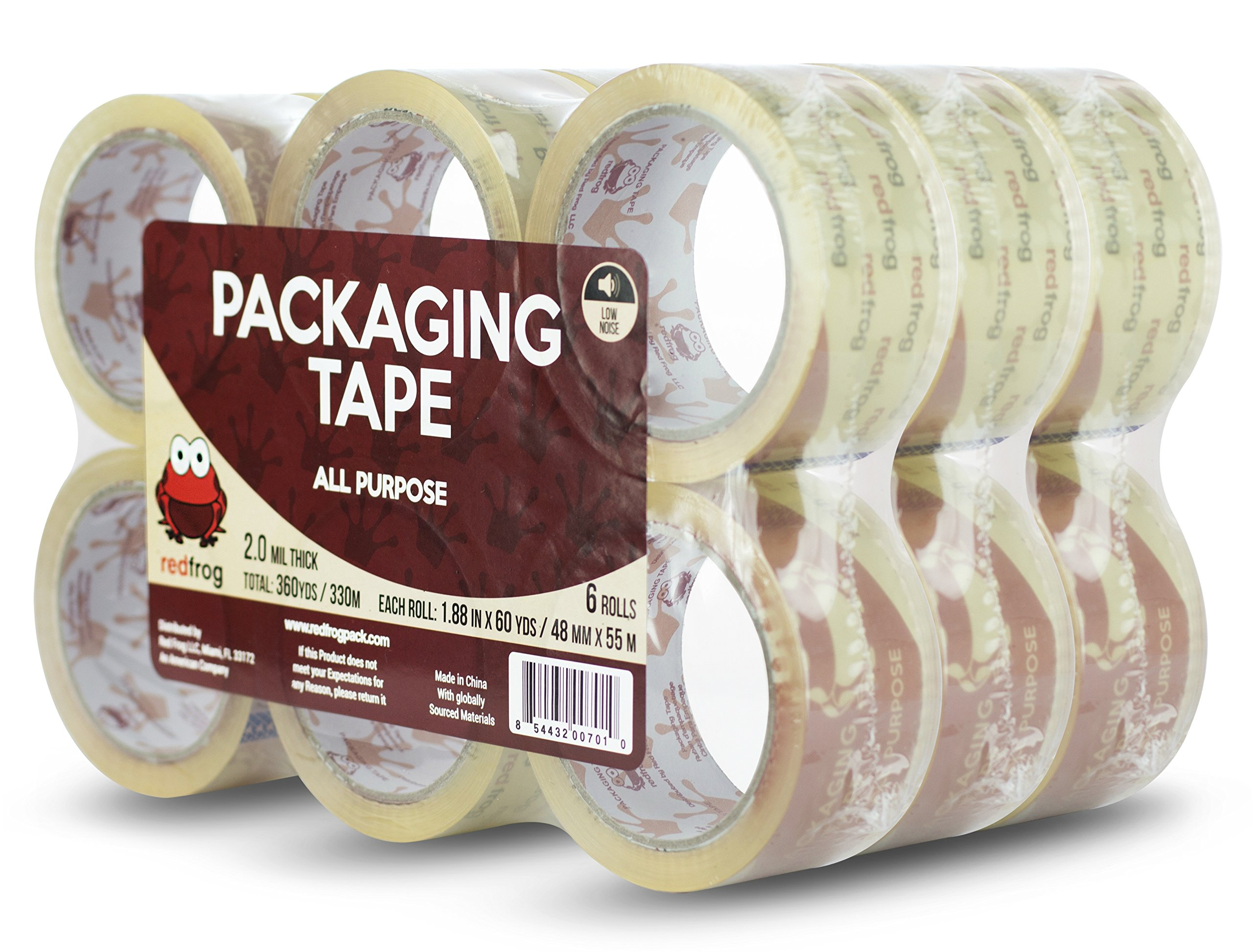 Red Frog 2.0 mil 1.88'' x 60 yards Super Clear, Low Noise Packaging Tape 18 Rolls