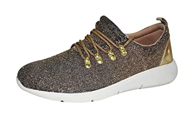 Women's Bling Sequins Athletic Casual Running Sport Shoes Lace Up Flat Zsell