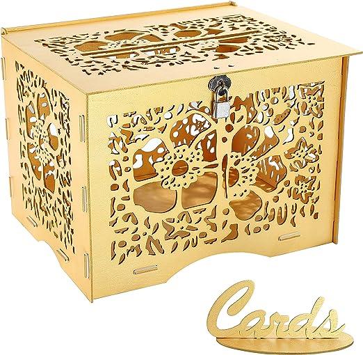 Benjia - Caja para Tarjetas de Regalo, Vintage, Grande, de Madera, para Tarjetas de Dinero, buzón, con candado, Ranura para Bodas, cumpleaños, Gracias: Amazon.es: Juguetes y juegos