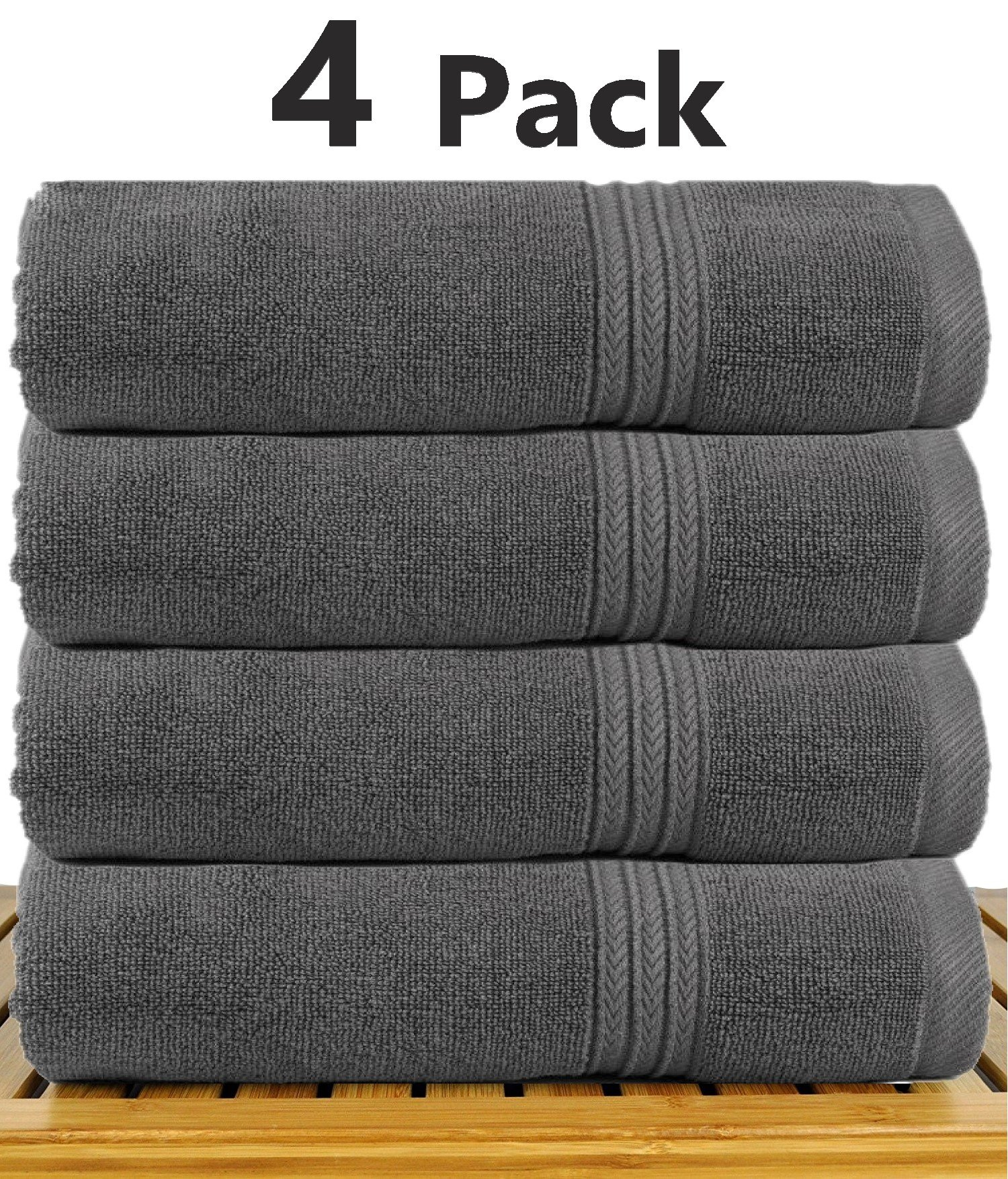 TowelPro Luxury Premium Soft 100% Cotton Highly Absorbent Machine Washable Multi-Purpose, Hotel, Spa, Home, Large Hand Towels 16'' x 28'' (Gray)
