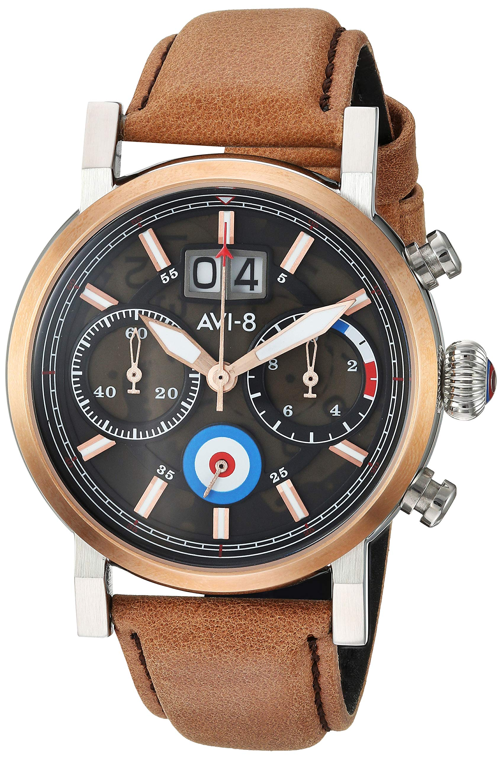 AVI-8 Men's 'Hawker Hurricane' Quartz Stainless Steel and Leather Casual Watch, Color