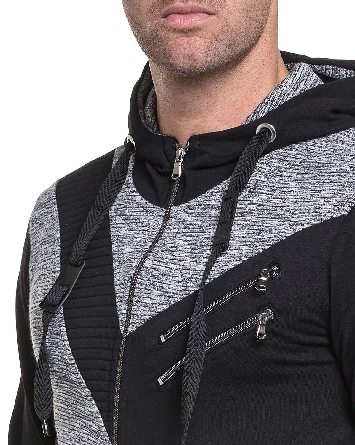 BLZ jeans - Cardigan sweater black and gray marl hooded man and zips