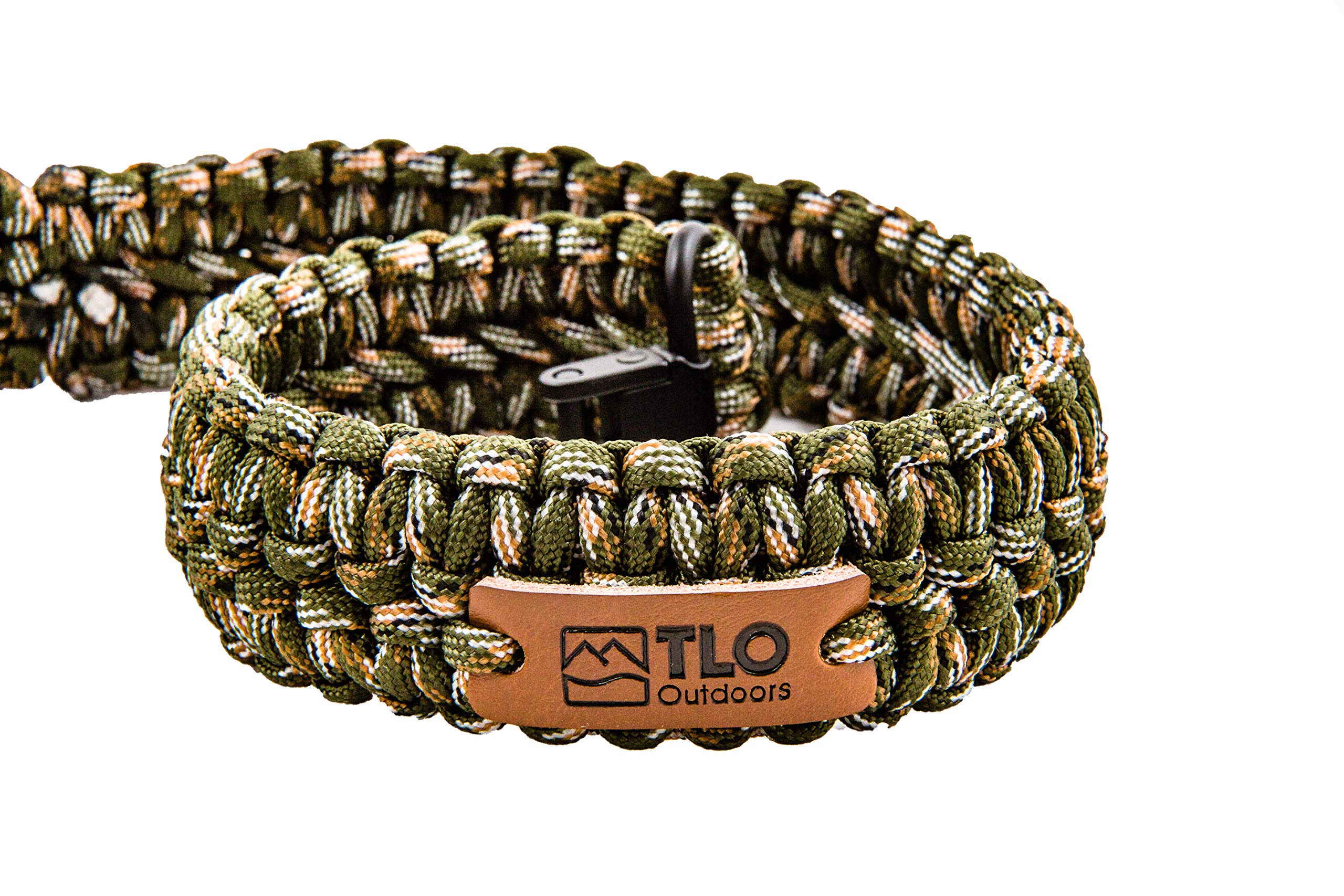 TLO Outdoors Paracord Gun Sling - Adjustable 2-Point Paracord Sling Rifle, Shotgun Crossbows (550 Rated Nylon, Kernmantle Paracord, Extra Wide, Green CAMO) by TLO Outdoors