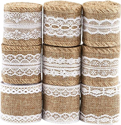 79/×2 Inches Each 10 Pcs Natural Burlap Lace Craft Ribbon Roll Kit 20 Yards DIY Handmade Crafts Lace Wedding Favor Decoration