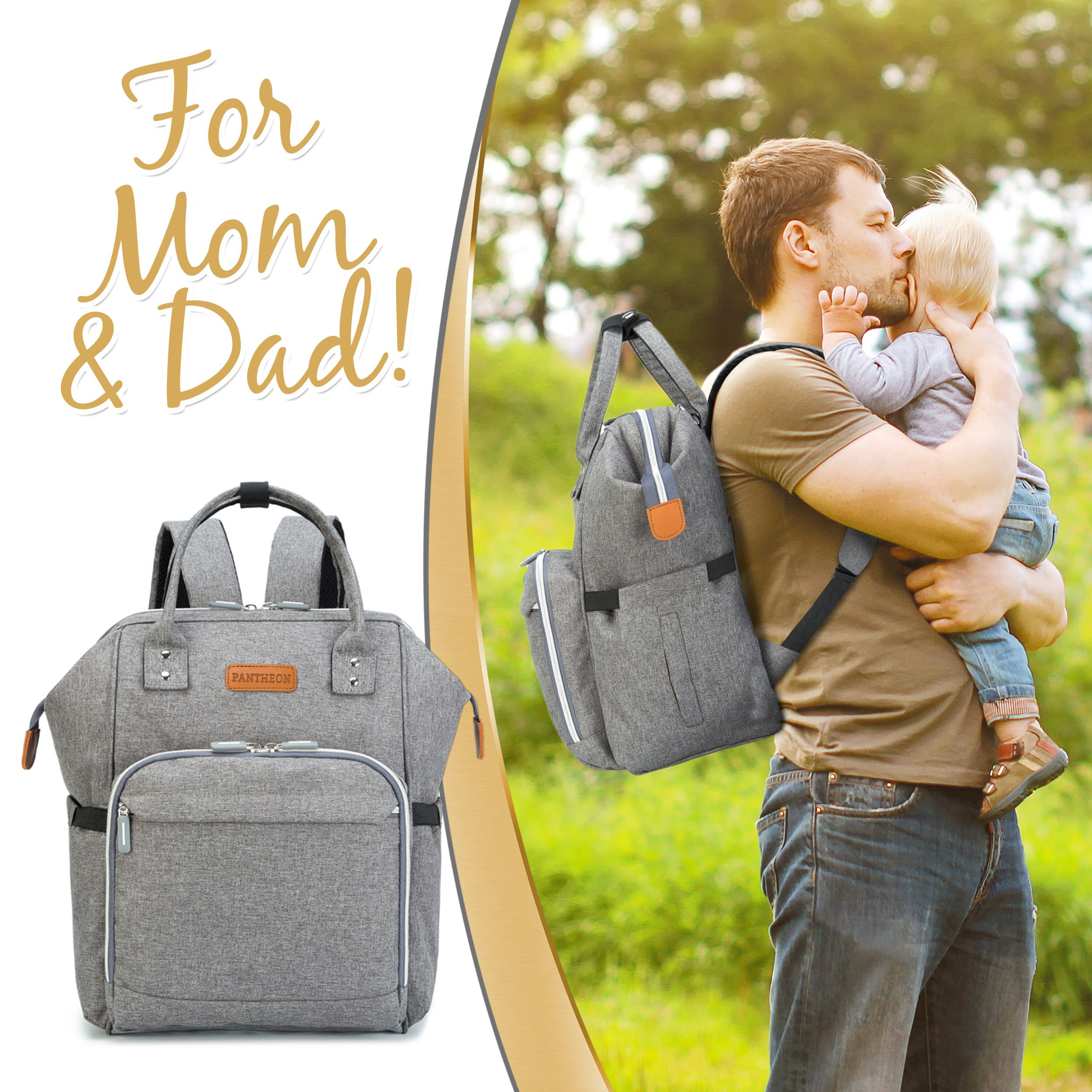 Diaper Bag Baby Backpack with Changing Pad, Insulated Cooler Pocket for Bottle Storage, Stroller Straps, by Pantheon, Best Bags for Girl or Boy, Mom or Dad (Gray) by Pantheon (Image #7)