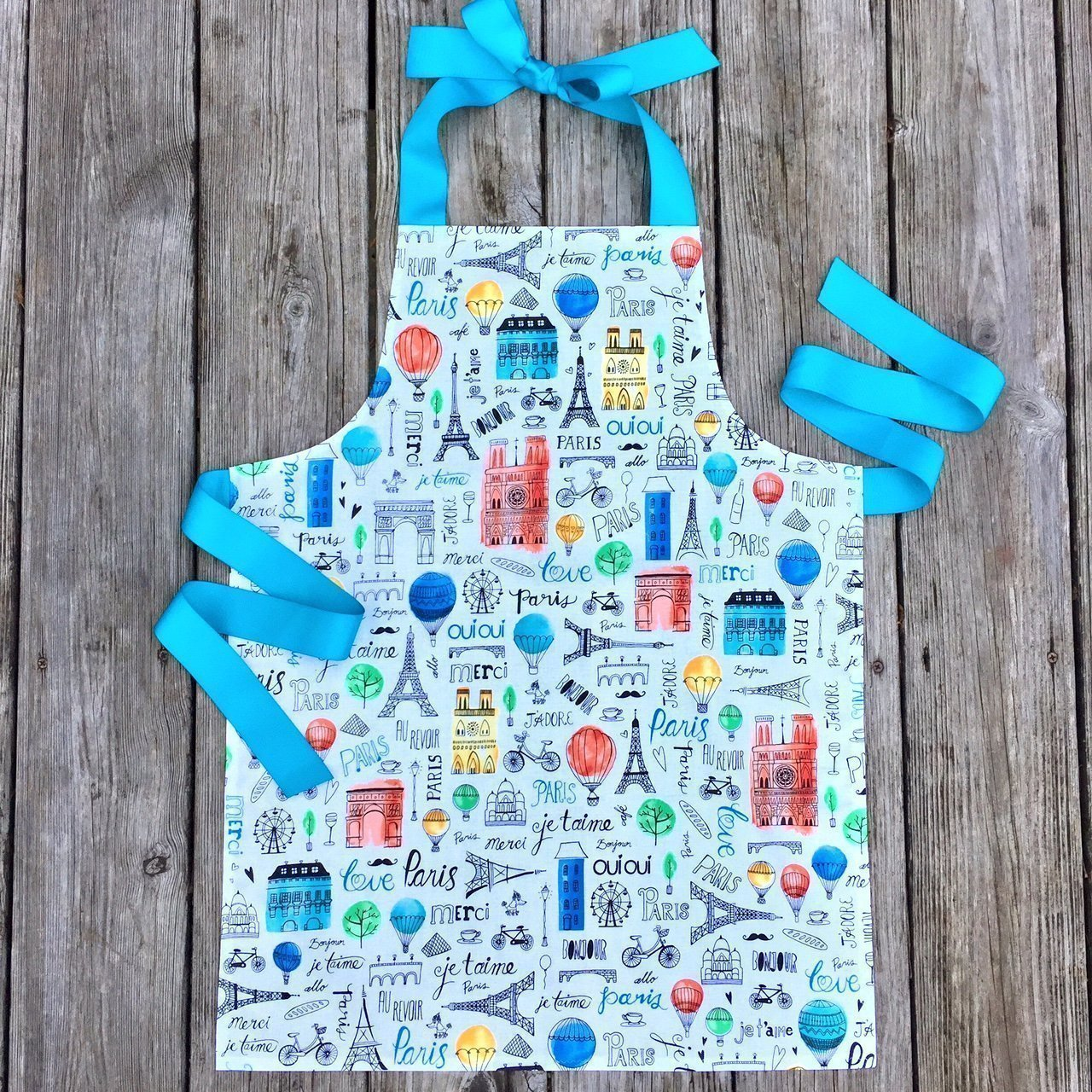 Colorful Paris Tween Girl Apron Gift for Kitchen or Art