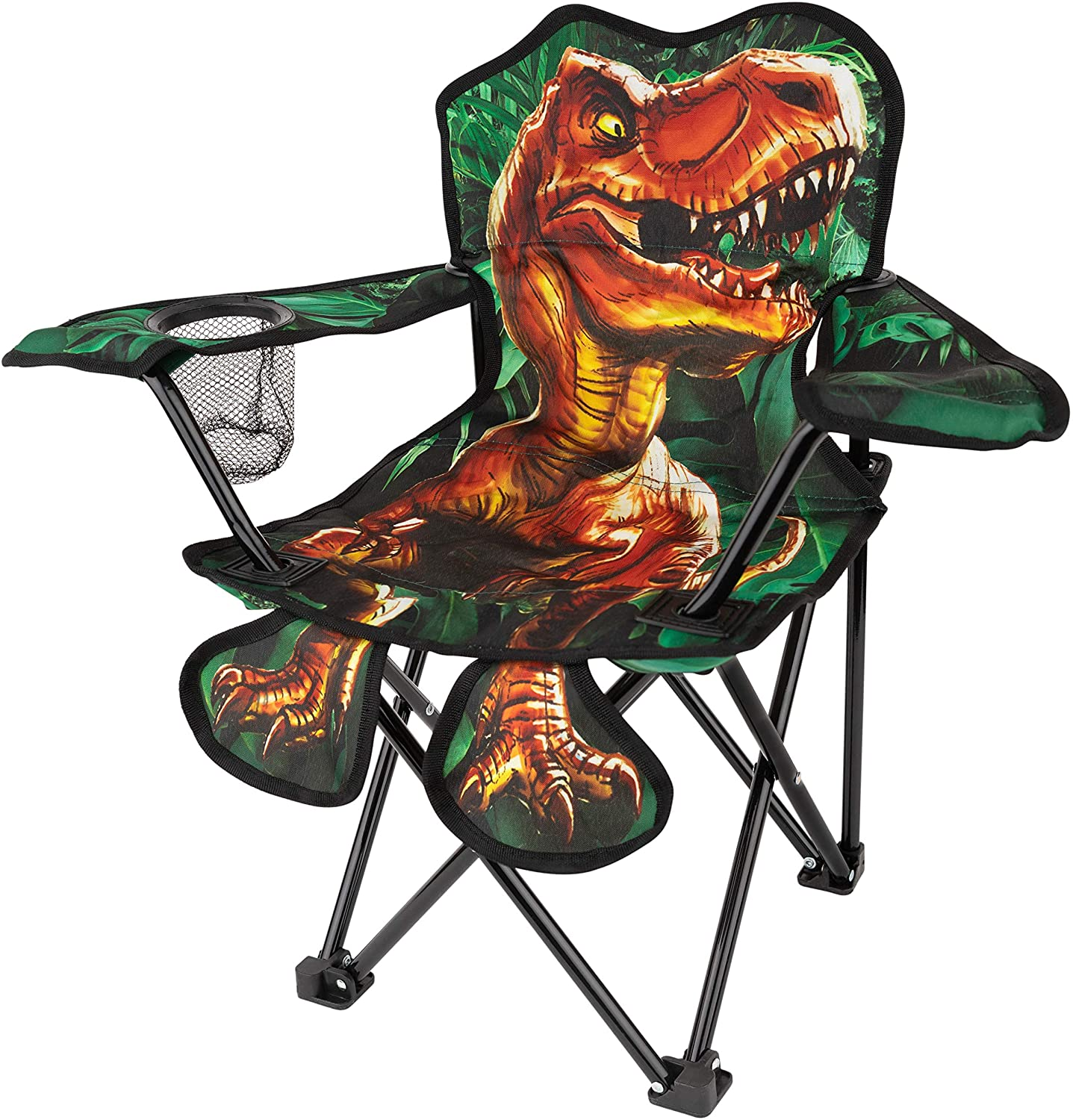 Toy-To-Enjoy Outdoor Dinosaur Chair for Kids – Foldable Children's Chair for Camping, Tailgates, Beach, Fishing, – Portable Carrying Bag Included Mesh Cup Holder & Sturdy Construction. Ages 5 to 10
