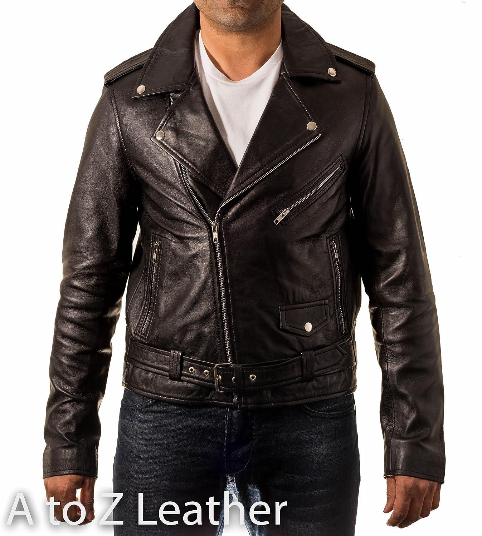 Mens Black Real Leather Motorbike Fitted Brando Long Sleeved Jacket