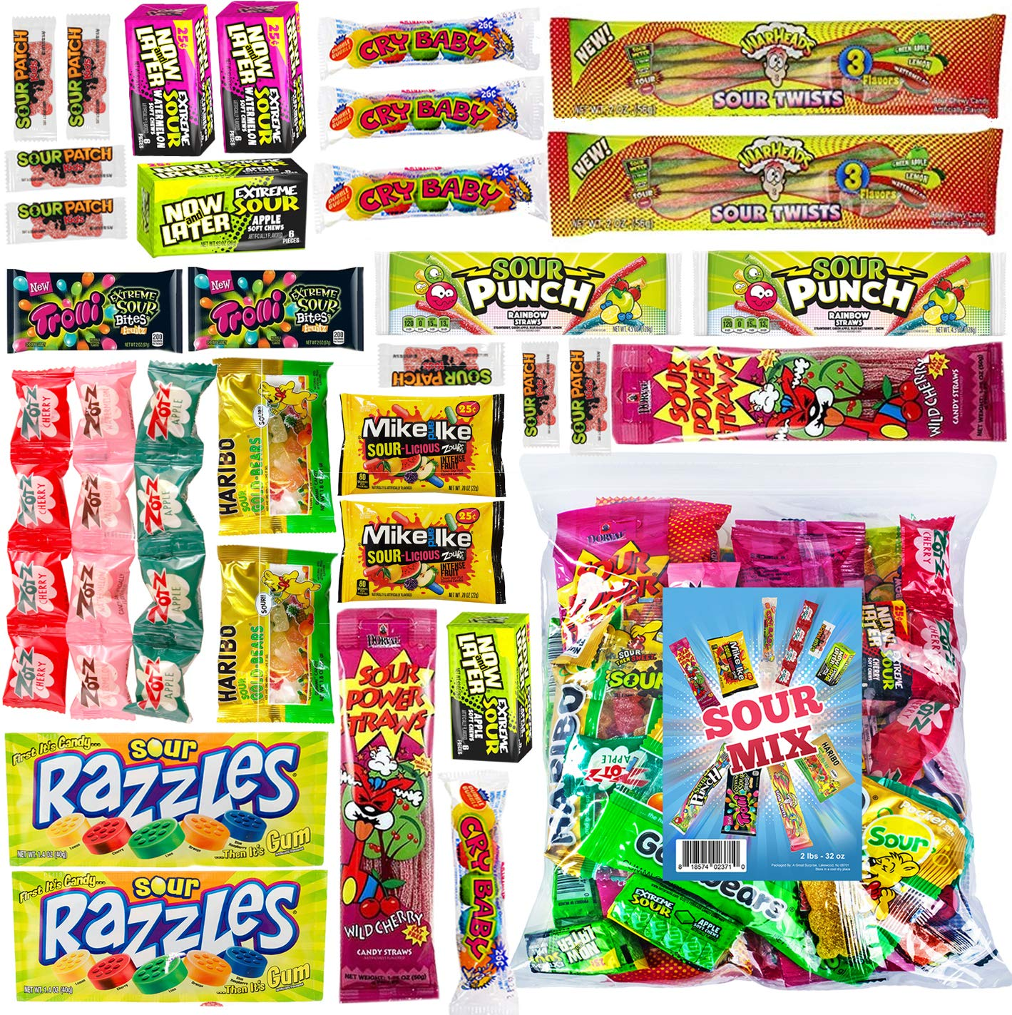 Halloween Candy - Sour Candy Bulk - Sour Candy Assortment - Bulk Sour Candy - Mix Sour Candy - Sour Candy Mix - Sour Candy Variety - Bulk Candy - 2 Pounds by A Great Surprise