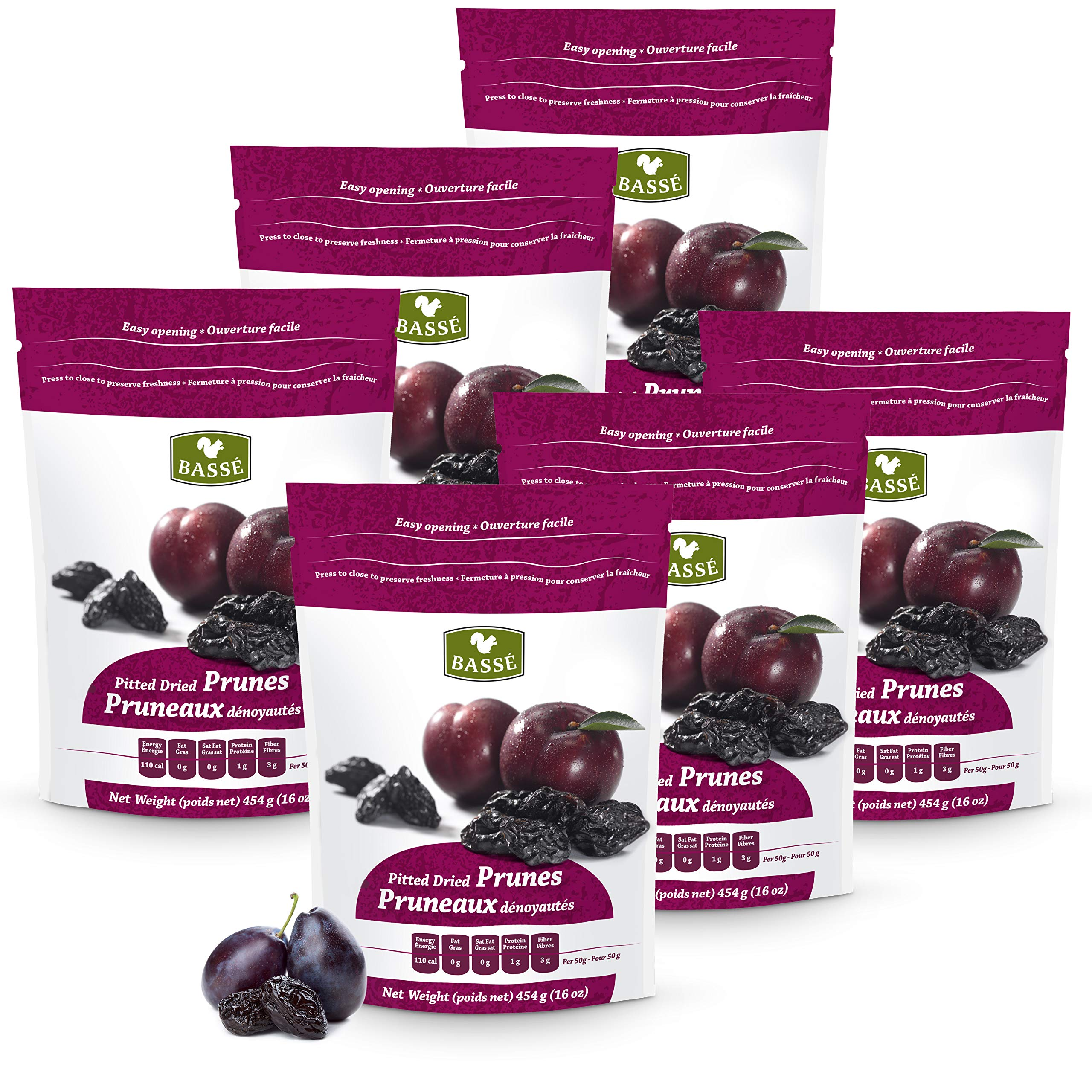 Basse Dried Pitted Prunes, USA Grown Dried Plums 6 Bags (1 Pound each)
