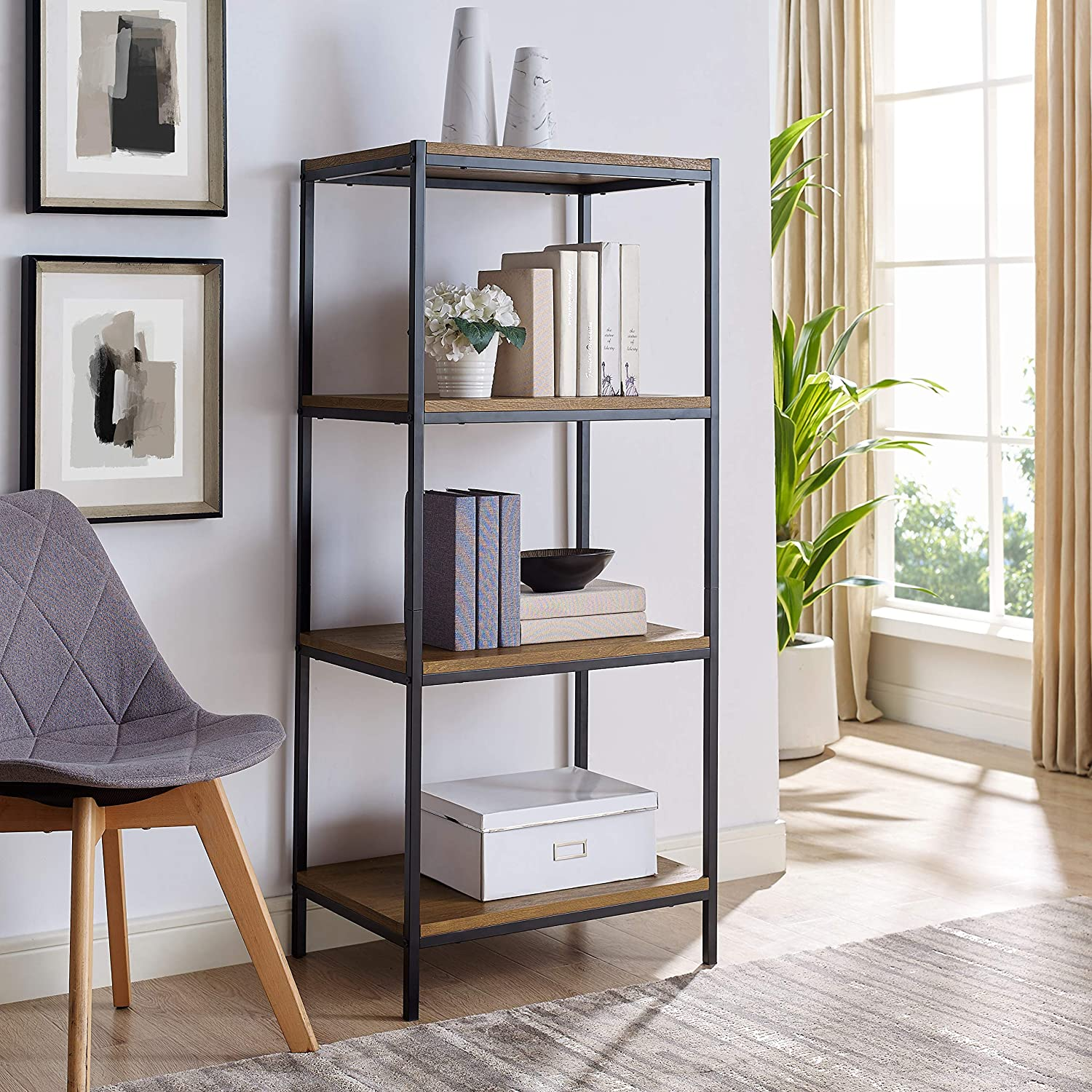 4 Tier Bookshelf by CAFFOZ Furniture Designs Rustic Industrial Bookcase with Modern Open Shelves Oak Brown Wood Look Accent Furniture Metal Frame Media Storage Rack Shelf Unit Living Room