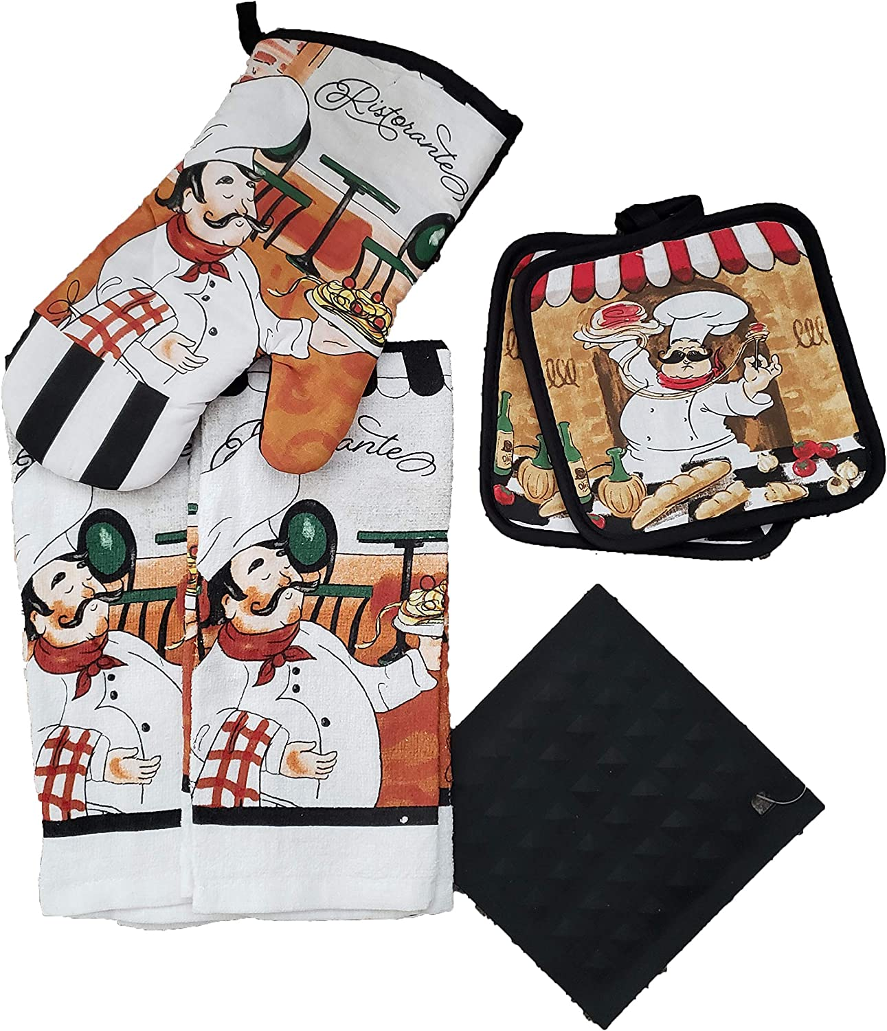 Colorful 5 Piece Kitchen Linen Bundle with 2 Dish Towels, 2 Potholders, and 1 Oven Mitt (Italian Pasta Chef)