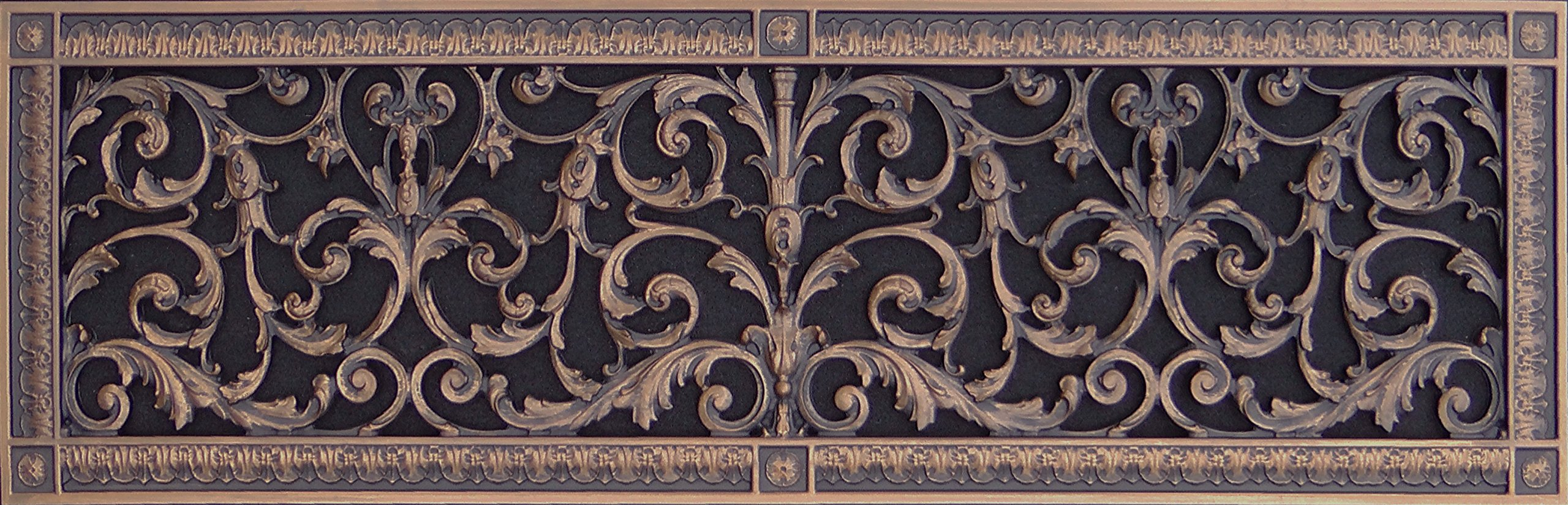 Decorative Vent Cover, Grille or Register, made of resin in Louis XIV style fits over a 8''x24'' duct opening. Total size is 10''x26'', for wall & ceiling installation only. Not for floors (Rubbed Bronze)