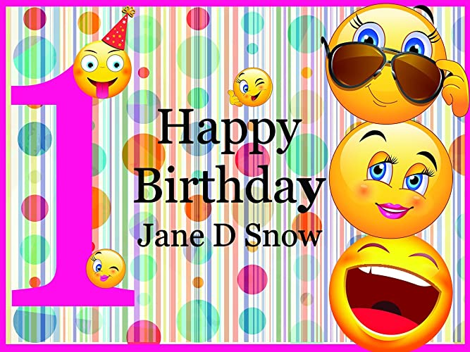 Emoji Party Supplies Personalized Happy Birthday Decorations Backdrop
