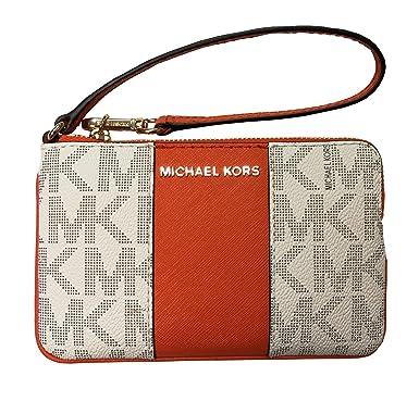 8a58087bf6d1f7 Michael Kors Center Stripe Jst Medium Top Zip Wristlet Vanilla/Tangerine
