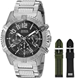 GUESS Men's U0727G1 Luxurious Silver-Tone Watch Set with Metal Band and 2 Intechangeable Straps Inside a Bonus Jewelry Box