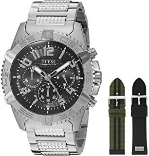 GUESS Mens U0727G1 Luxurious Silver-Tone Watch Set with Metal Band and 2 Intechangeable Straps