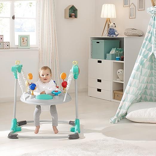 Hauck Jump-A-Round - Columpio y mesa de juego estable para bebes de 6 meses a 12kg, mesa de juegos y música, regulable en altura, giratorio, piezas de ...