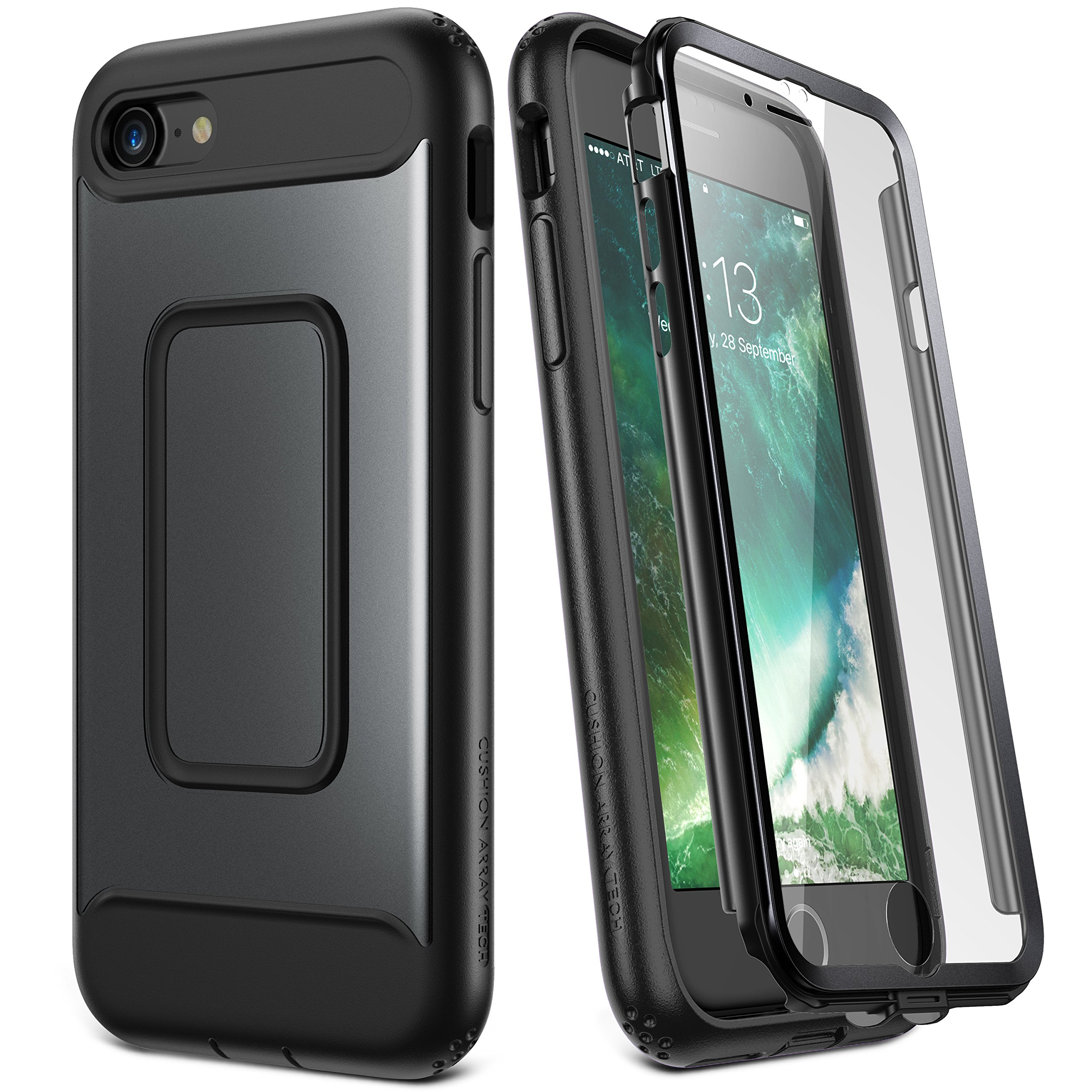 YOUMAKER Case for iPhone 8 & iPhone 7, Full Body with Built-in Screen Protector Heavy Duty Protection Shockproof Slim Fit Cover for Apple iPhone 8 (2017) / iPhone 7 (2016) 4.7 Inch - Black by YOUMAKER
