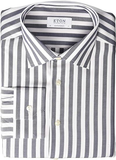 0466969d358bd Eton Mens Contemporary Fit Bold Stripe Button Down Shirt at Amazon ...