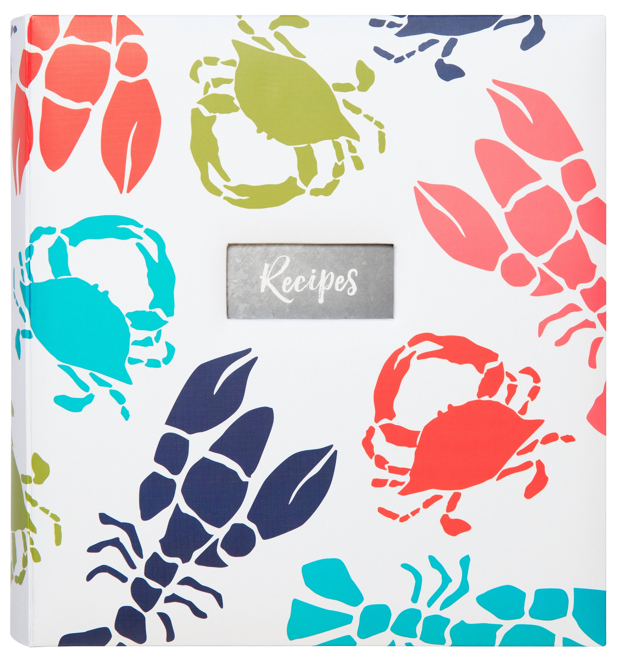C.R. Gibson Beach House and Nautical Décor Lobster and Crab Themed Kitchen Recipe Binder, 11'' W x 12'' L x 2.5'' D