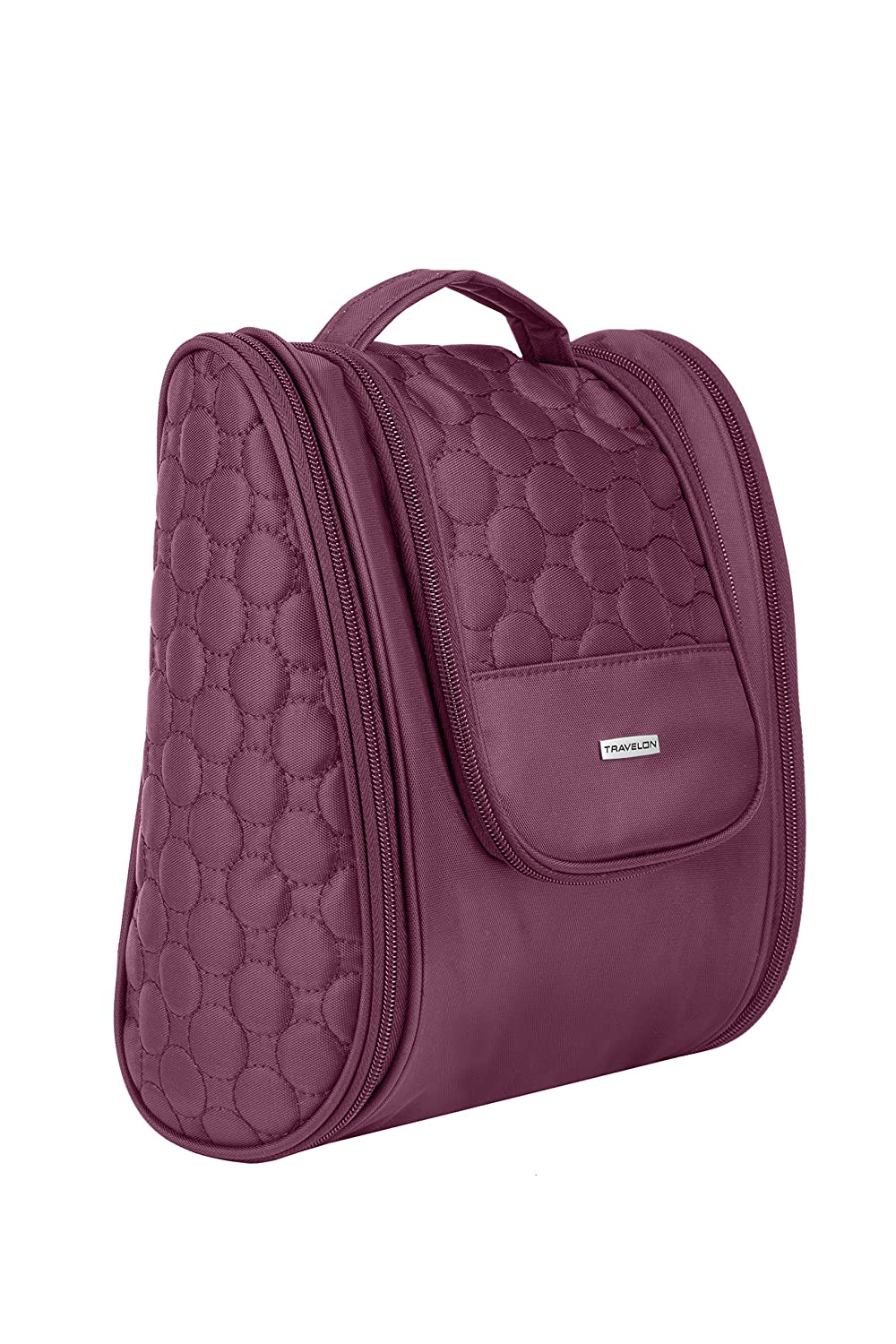 Travelon 3 Compartment Hanging Toiletry Kit Travel Accessory, Berry Quilted 43141 97U