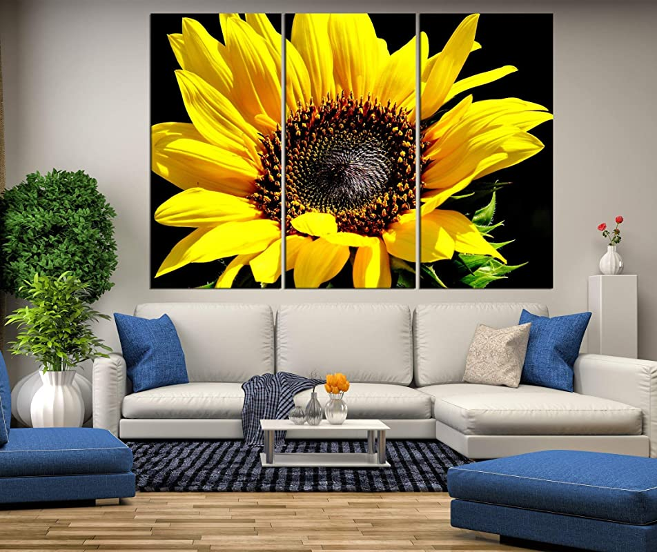Amazon Com Sunflower Canvas Print Wall Art Extra Large Wall Art Sunflower Wall Decal For Living Room Canvas Print 3 Pieces Framed 685 Handmade