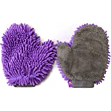Hertzko 2 Pack Pet Drying Towel Mitt Ultra Absorbent - Great for Drying Dog or Cat Fur After Bath