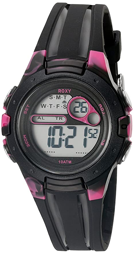 97a1c641c9 Roxy Women s RX 1014BKPK THE TOUR Black and Pink Digital Chronograph Strap  Watch