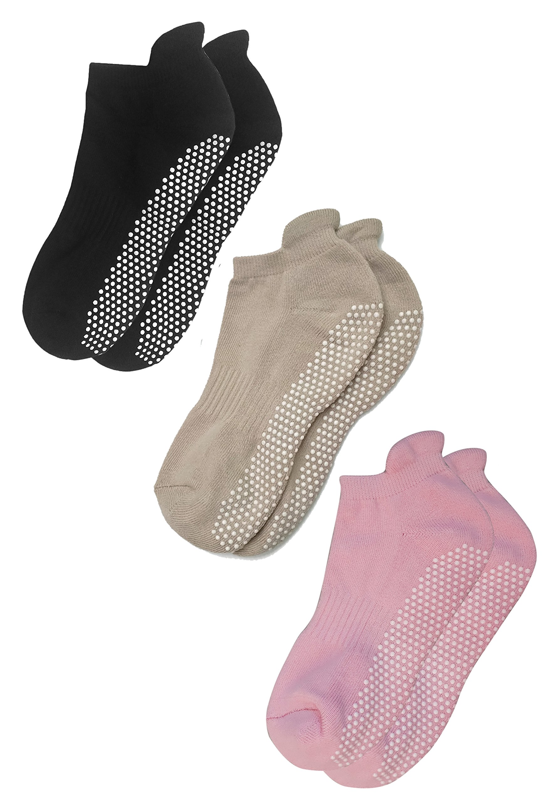 Deluxe Anti Slip Non Skid Barre Yoga Pilates Hospital Socks with grips for Adults Men Women (Medium, 3-pair/black+beige+pink)