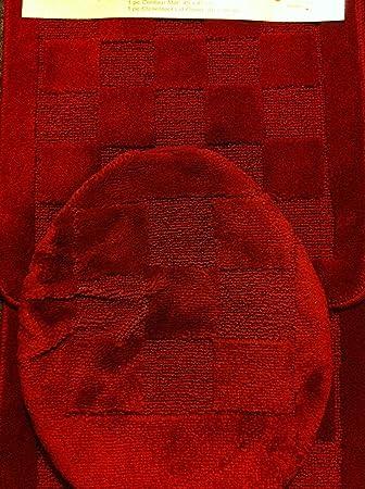 3 Piece Bath Rug Set Burgundy Bathroom Rugs/contour Mat With Lid Cover