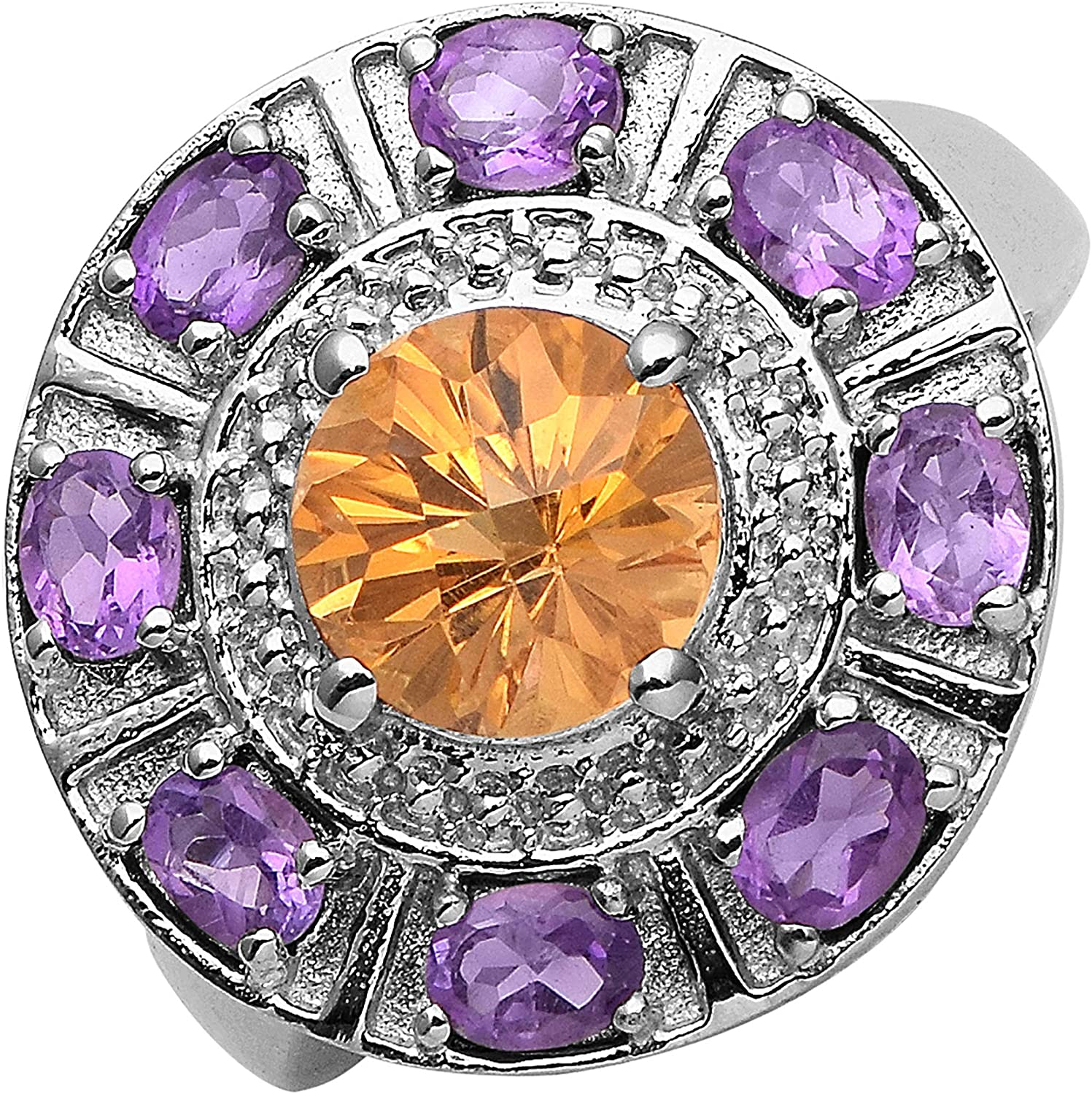Shine Jewel Madeira Citrine with Amethyst Gemstone 925 Sterling Silver Circle Cluster Statement Ring