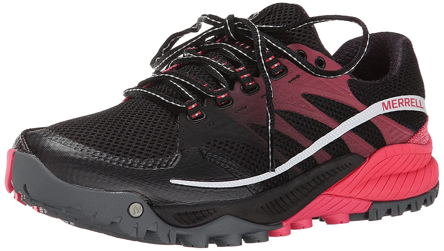 Merrell Women's All Out Charge Trail Running Shoe B0059H5DTC 5.5 B(M) US|Black/Geranium