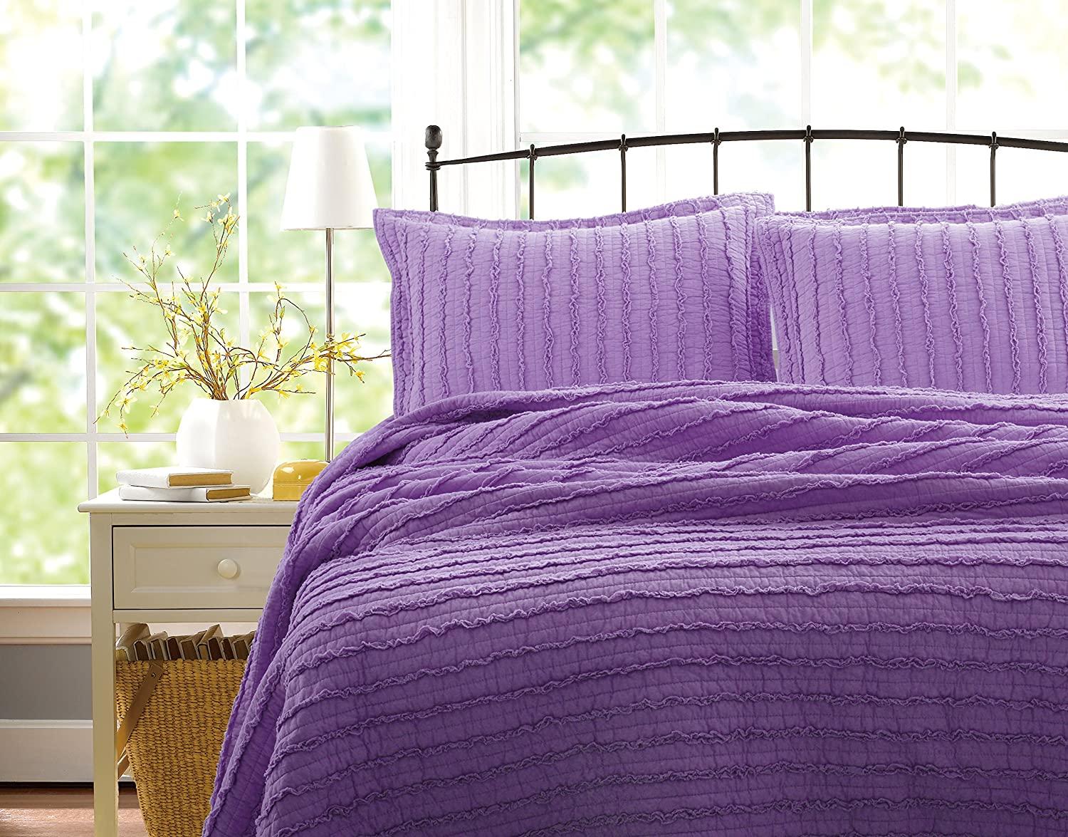 Greenland Home 3-Piece Ruffled Quilt Set, King, Lavender