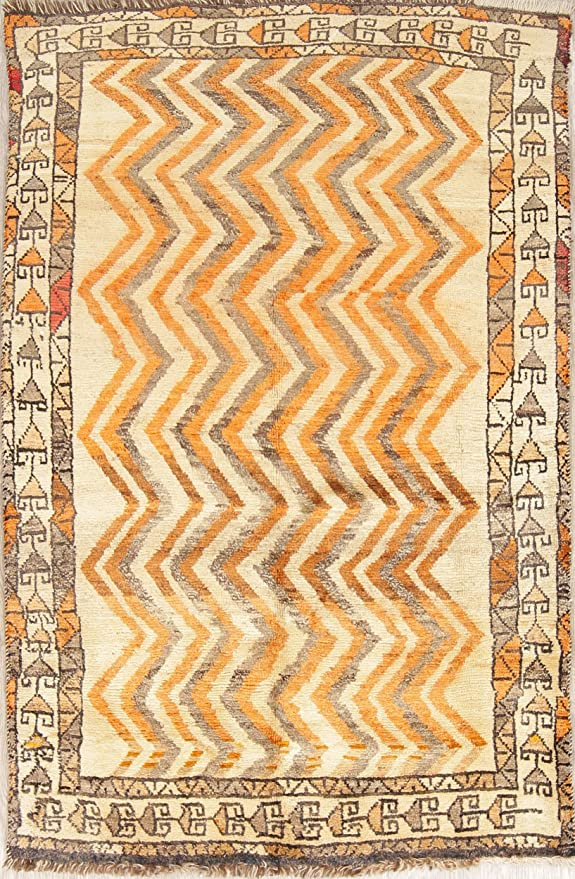 One Of A Kind Gabbeh Tribal Geometric Hand Knotted 4x6 Beige Wool Antique Area Rug 6 0 X 3 11 Kitchen Dining