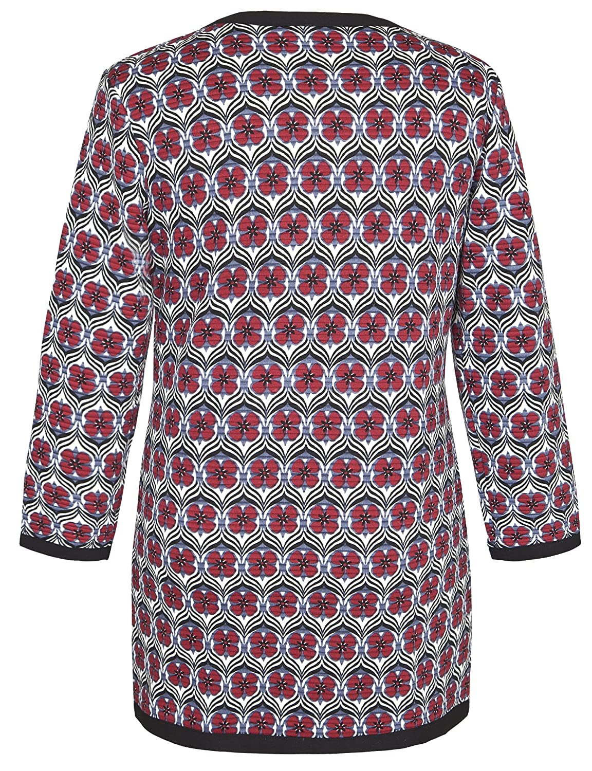 Chicwe Women's Floral Quilted Plus Size Jacket Cardigan Cherry Red