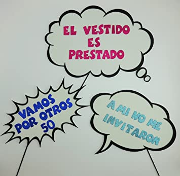 3 Pc Photo Booth Party Props Speech Bubbles Different Styles Spanish Lettering