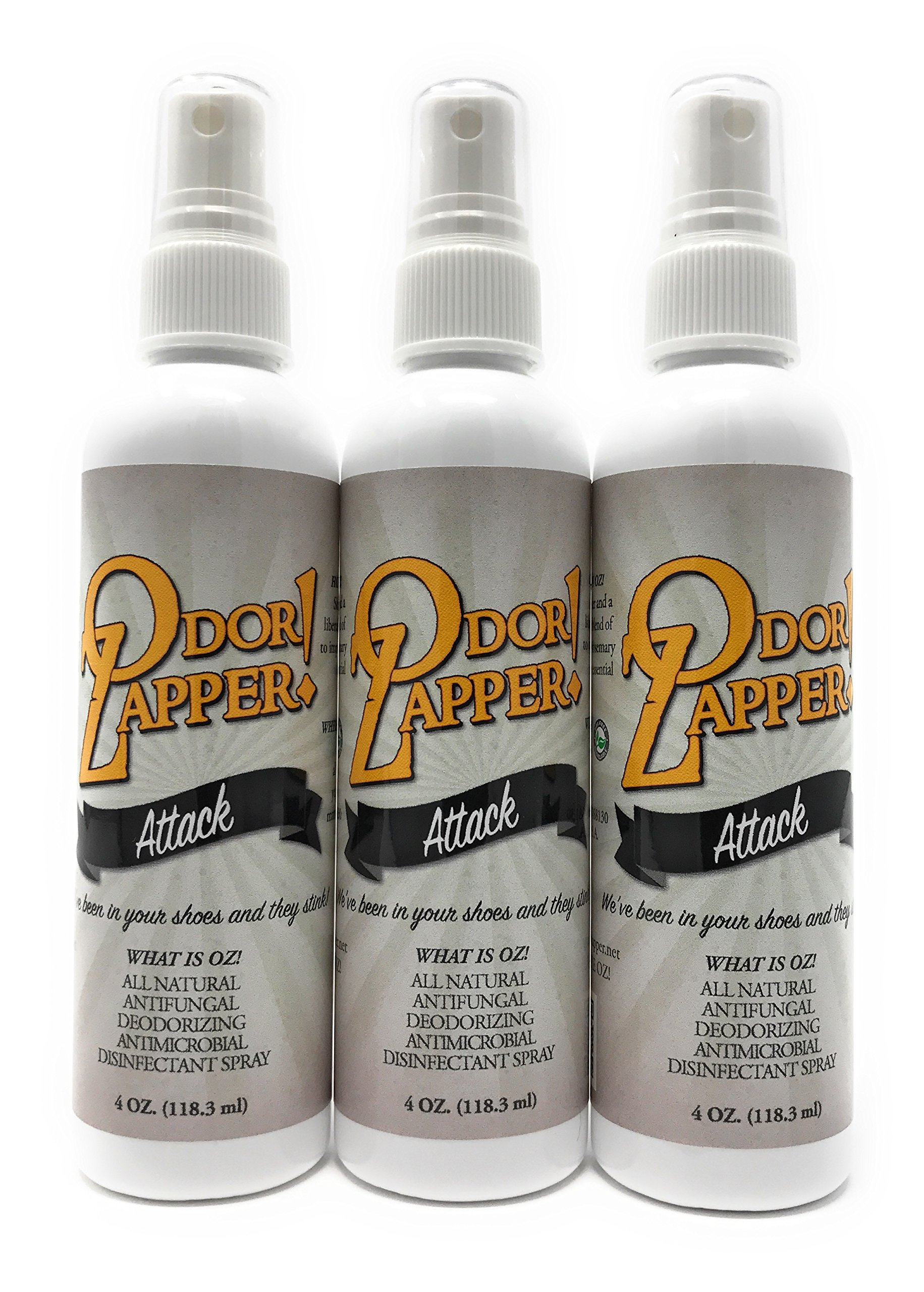 Odor Zapper Disinfectant Spray - For use in Shoes, Gym Bags, Yoga Mats and More! - ''Attack'' 3 Pack