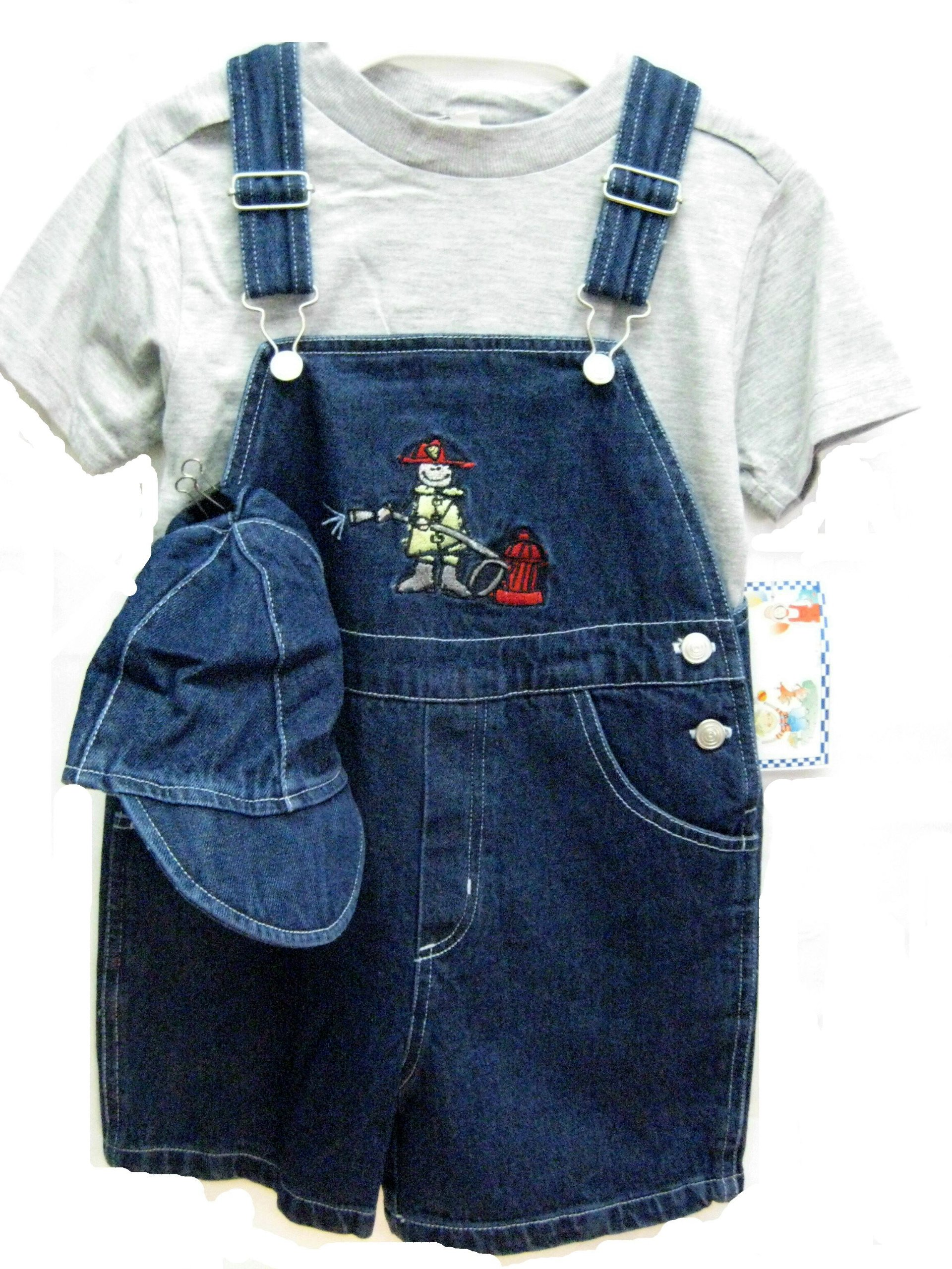 Toddler Boys Size 2T Indigo Denim Embroidered Pocket Shortall 2-PC Sets with Cap