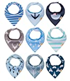 """Amazon Price History for:Baby Bandana bibs , 9-Pack Drool Bibs for Boys and Girls, unisex, """"Little Navy"""" Baby Shower set, 100% Organic Cotton, Soft and Absorbent, Stylish and Unisex, For Drooling and Teething by Gift it!"""