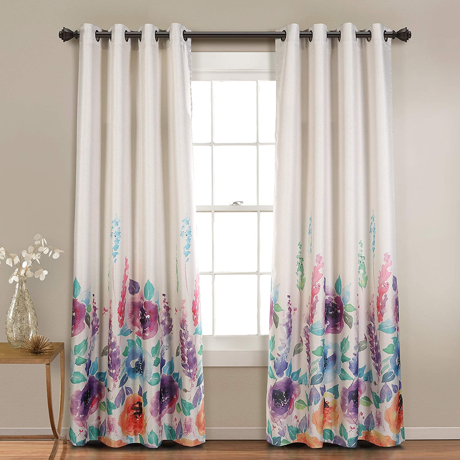 Mysky Home Premium Floral Curtains For Bedroom Natural Linen Textured Room Darkening Curtains With Flower Print Design Set Of 1 Curtain Panel 52 X 95 Inch Purple Home Kitchen Amazon Com