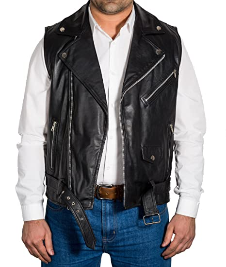 5116a729287aa Mens Black Real Leather Biker Fitted Brando Stylish Waistcoat Gilet (Sleeveless  Jacket)  Amazon.co.uk  Clothing