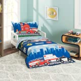 EVERYDAY KIDS 4 Piece Toddler Bedding Set -Fire and Police Rescue- Includes Comforter, Flat Sheet, Fitted Sheet and Reversible Pillowcase
