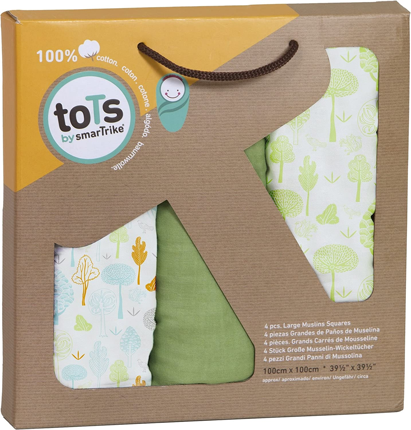 Tots by Smart Smartrike 170-101/ Bamboo 100/ /% bamb/ú Ray/ón 3 unidades 120/ x/ 120/ cm Muselinas color verde