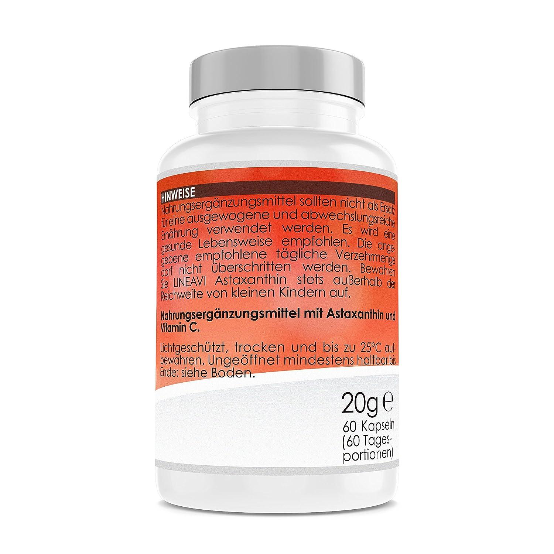 Astaxantina LINEAVI   4 mg de astaxantina + 40 mg de vitamina C por cápsula   poderoso antioxidante con efecto antiinflamatorio   fabricado en Alemania   60 ...